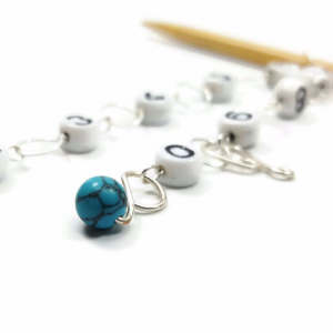 turquoise knitting row counter